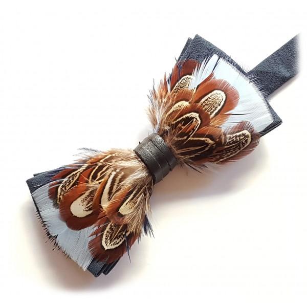 Genius Bowtie - Archimede - Blu Navy - Papillon in Pelle Scamosciata con Piume - Farfallino di Alta Qualità Luxury