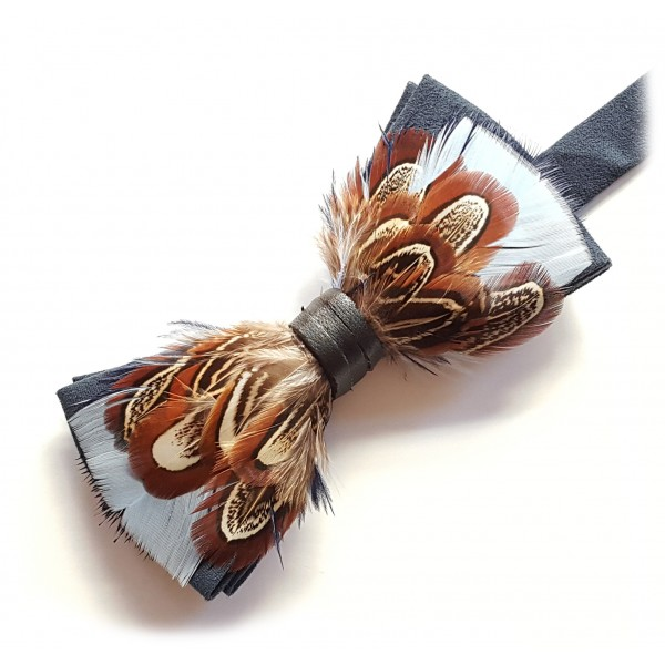 Genius Bowtie - Archimedes - Navy Blue - Suede Leather Bow Tie with Feathers - Luxury High Quality Bow Tie