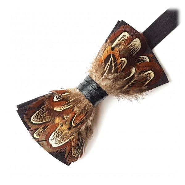 Genius Bowtie - Da Vinci - Nero - Papillon in Pelle Scamosciata con Piume - Farfallino di Alta Qualità Luxury