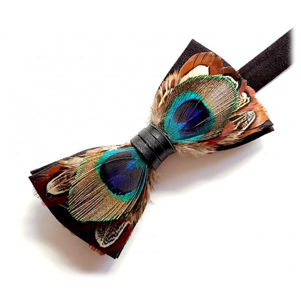 Genius Bowtie - Darwin - Nero - Papillon in Pelle Scamosciata con Piume - Farfallino di Alta Qualità Luxury
