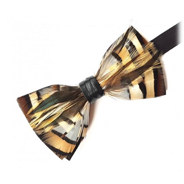 Genius Bowtie - Michelangelo - Nero - Papillon in Pelle Scamosciata con Piume - Farfallino di Alta Qualità Luxury