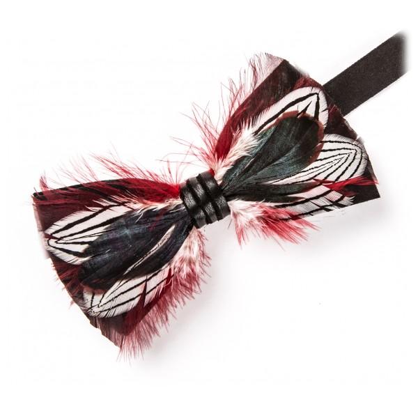 Genius Bowtie - Newton - Nero - Papillon in Pelle Scamosciata con Piume - Farfallino di Alta Qualità Luxury