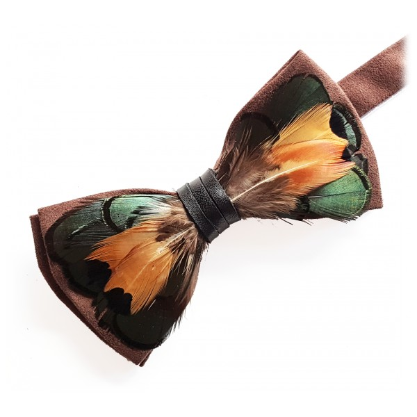 Genius Bowtie - Shakespeare - Black - Suede Leather Bow Tie with Feathers - Luxury High Quality Bow Tie