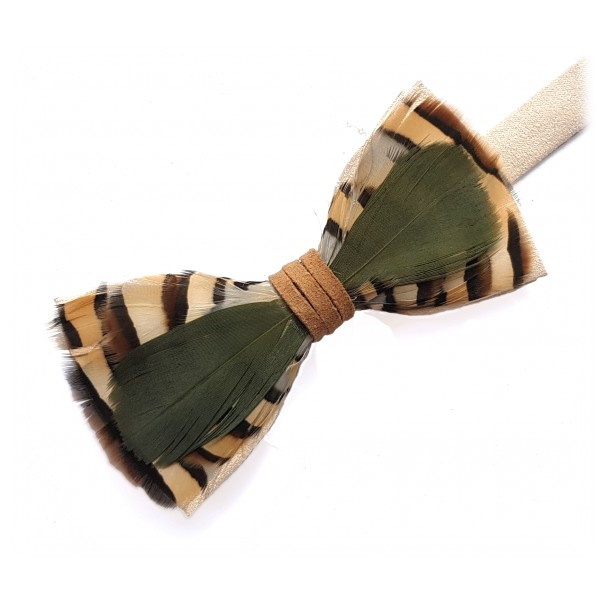 Genius Bowtie - Tchaikovsky - Beige - Suede Leather Bow Tie with Feathers - Luxury High Quality Bow Tie