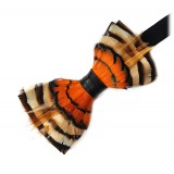 Genius Bowtie - Van Gogh - Black - Suede Leather Bow Tie with Feathers - Luxury High Quality Bow Tie
