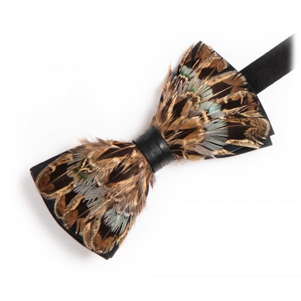 Genius Bowtie - Aristotele - Marrone Verde - Papillon in Pelle Scamosciata con Piume - Farfallino di Alta Qualità Luxury