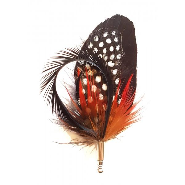 Genius Bowtie - Copernico - Rosso Nero - Pin in Vere Piume - Spilla di Alta Qualità Luxury