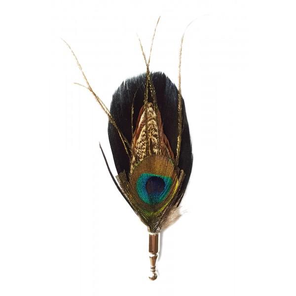 Genius Bowtie - Darwin - Nero - Pin in Vere Piume - Spilla di Alta Qualità Luxury