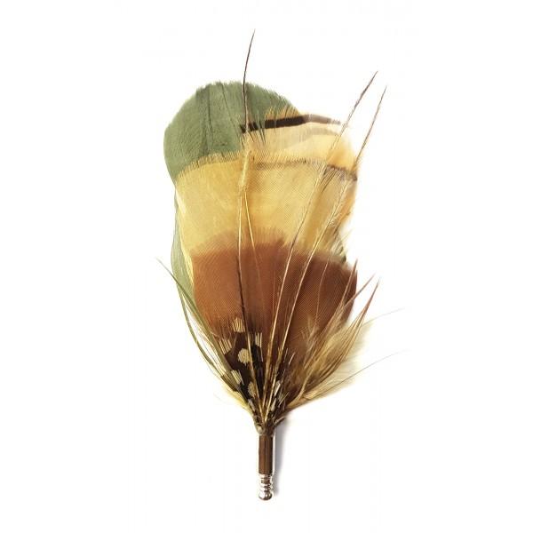 Genius Bowtie - Tchaikovsky - Beige Marrone - Pin in Vere Piume - Spilla di Alta Qualità Luxury