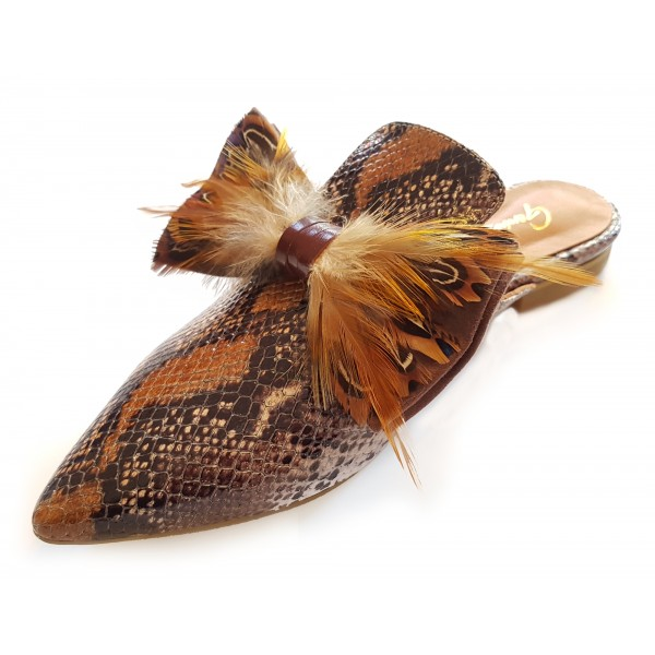 Genius Bowtie - Genius Shoes - Brown - Python Leather Shoes with Real Feathers - Luxury High Quality Bow Tie