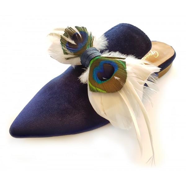 Genius Bowtie - Genius Shoes - Blu - Scarpe in Pelle con Vere Piume di Pavone - Scarpe di Alta Qualità Luxury