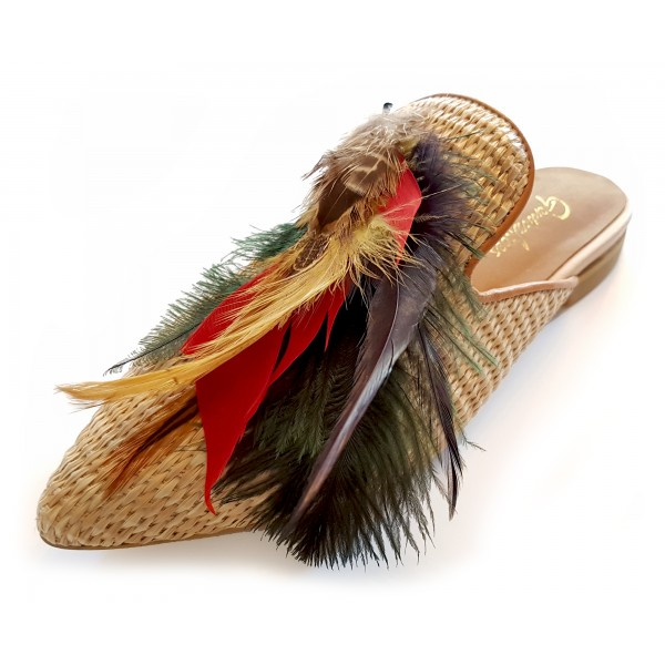 Genius Bowtie - Genius Shoes - Summer Rafia - Rafia Shoes with Real Feathers - Luxury High Quality Bow Tie