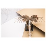 Genius Bowtie - Da Vinci - Almond - Suede Leather Bow Tie with Feathers - Luxury High Quality Bow Tie