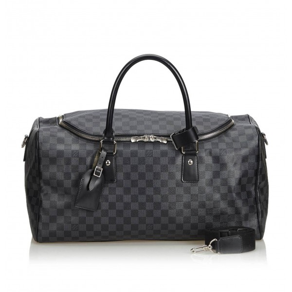 Louis Vuitton Vintage - Damier Ebene Graphite Roadster 50 Bag - Graphite - Damier Canvas and Leather - Luxury High Quality