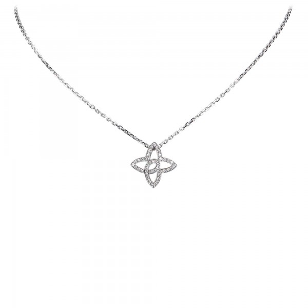Louis Vuitton Vintage - Quatrefoil Diamond Necklace - White Gold 18K - LV Necklace - Luxury High Quality