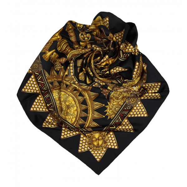 Hermès Vintage - Lor Des Chefs Silk Scarf - Nero Multi - Foulard in Seta - Alta Qualità Luxury