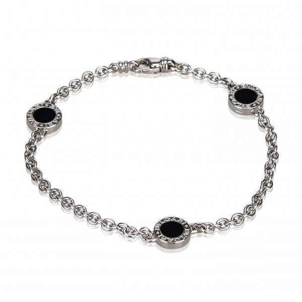 Bulgari Vintage - 18K Onyx Station Bracelet - Bvlgari Bracelet in 18K White Gold - Luxury High Quality
