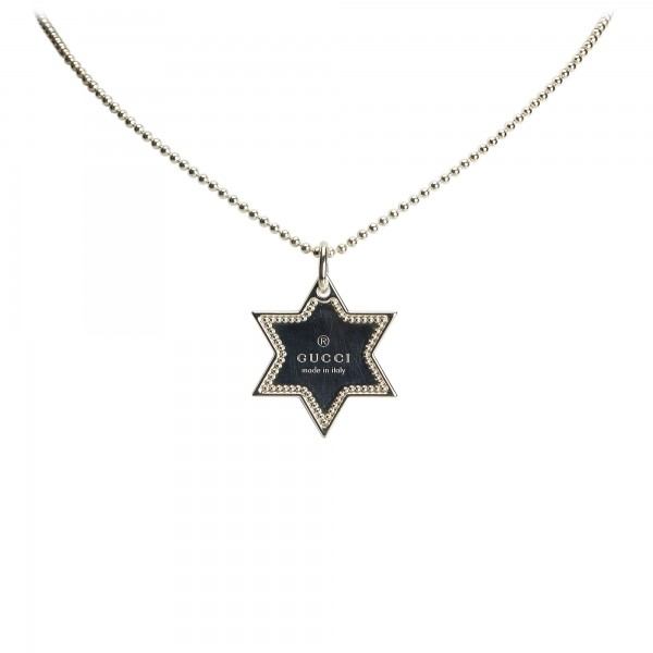 Gucci Vintage , Star Dog Tag Necklace , Silver , Gucci Necklace , Luxury  High Quality