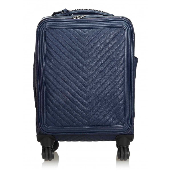 Chanel Vintage - Caviar Coco Case Trolley - Blue Navy - Leather Trolley - Luxury High Quality