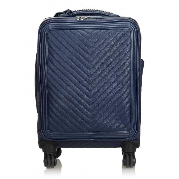 Chanel Vintage - Caviar Coco Case Trolley - Blue Navy - Leather Trolley - Luxury High Quality
