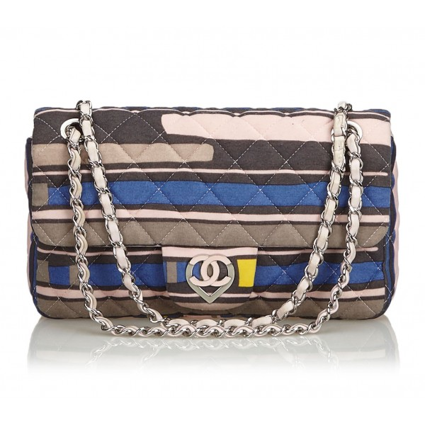 Chanel Vintage - CC Heart Printed Cotton Medium Flap Bag - Rosa - Borsa in Pelle e Cotone - Alta Qualità Luxury