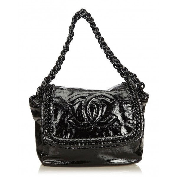 Chanel Vintage - Luxe Ligne Accordion Flap Bag - Black - Leather Handbag - Luxury High Quality