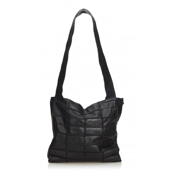 Chanel Vintage - Leather Patchwork Tote Bag - Black - Leather Handbag - Luxury High Quality