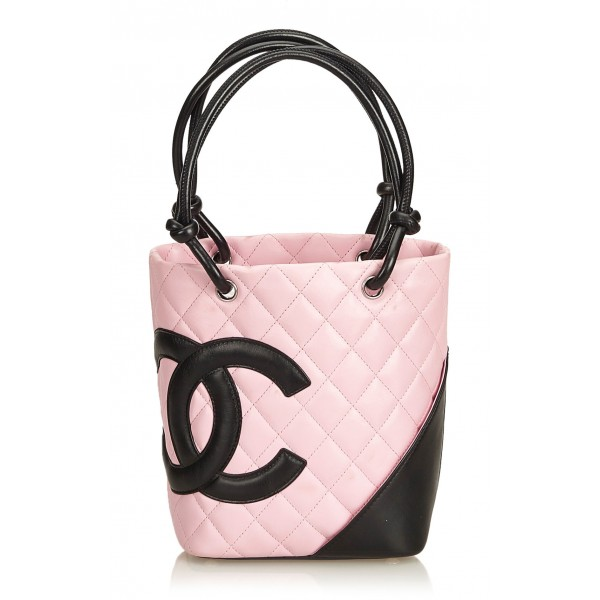 Chanel Vintage - Cambon Ligne Petit Bucket Bag - Pink Black - Leather Handbag - Luxury High Quality