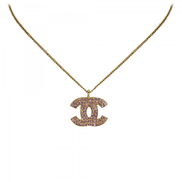 Chanel Vintage - CC Rhinestone Necklace - Gold - Necklace Chanel - Luxury High Quality