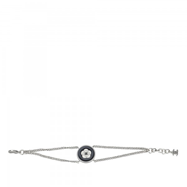 Chanel Vintage - Camellia Metal Bracelet - Silver Black - Chanel Bracelet - Luxury High Quality