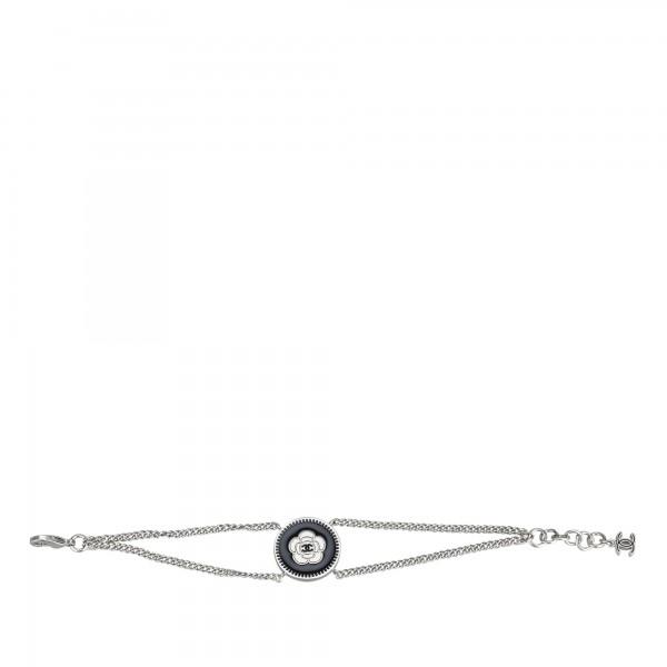 Chanel Vintage - Camellia Metal Bracelet - Silver Black - Chanel Bracelet - Luxury High Quality