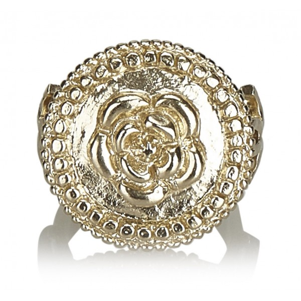 Chanel Vintage - Camellia Metallic Ring - Gold - Chanel Ring - Luxury High Quality