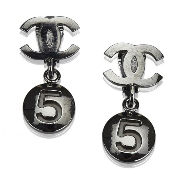 Chanel Vintage - CC No. 5 Drop Earrings - Silver - Earrings Chanel - Luxury High Quality