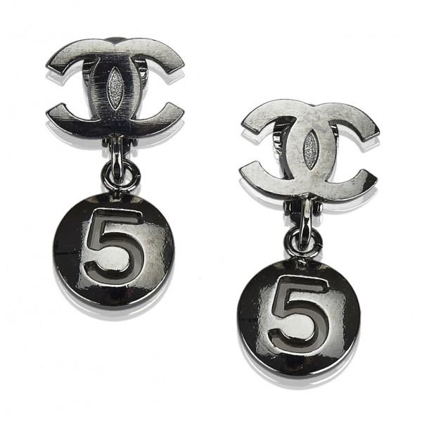 6a5476cdc3 Chanel Vintage - CC No. 5 Drop Earrings - Argento - Orecchini Chanel ...