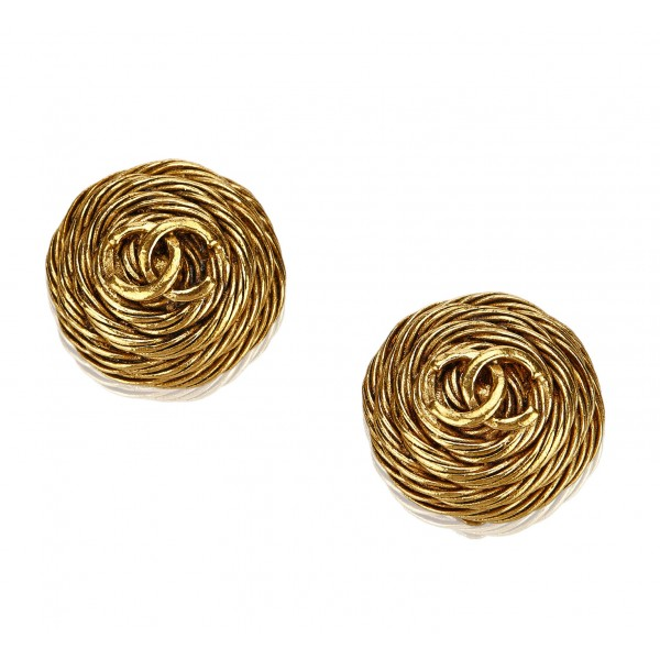 Chanel Vintage - CC Clip-On Earrings - Gold - Earrings Chanel - Luxury High Quality