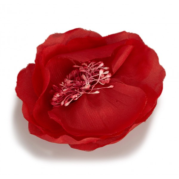 Chanel Vintage - Fabric Camellia Brooch - Rosso - Spilla Chanel - Alta Qualità Luxury