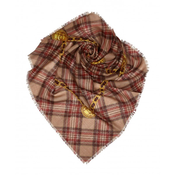 Chanel Vintage - Plaid Cashmere Silk Scarf - Brown Beige - Cashmere and Silk Foulard - Luxury High Quality