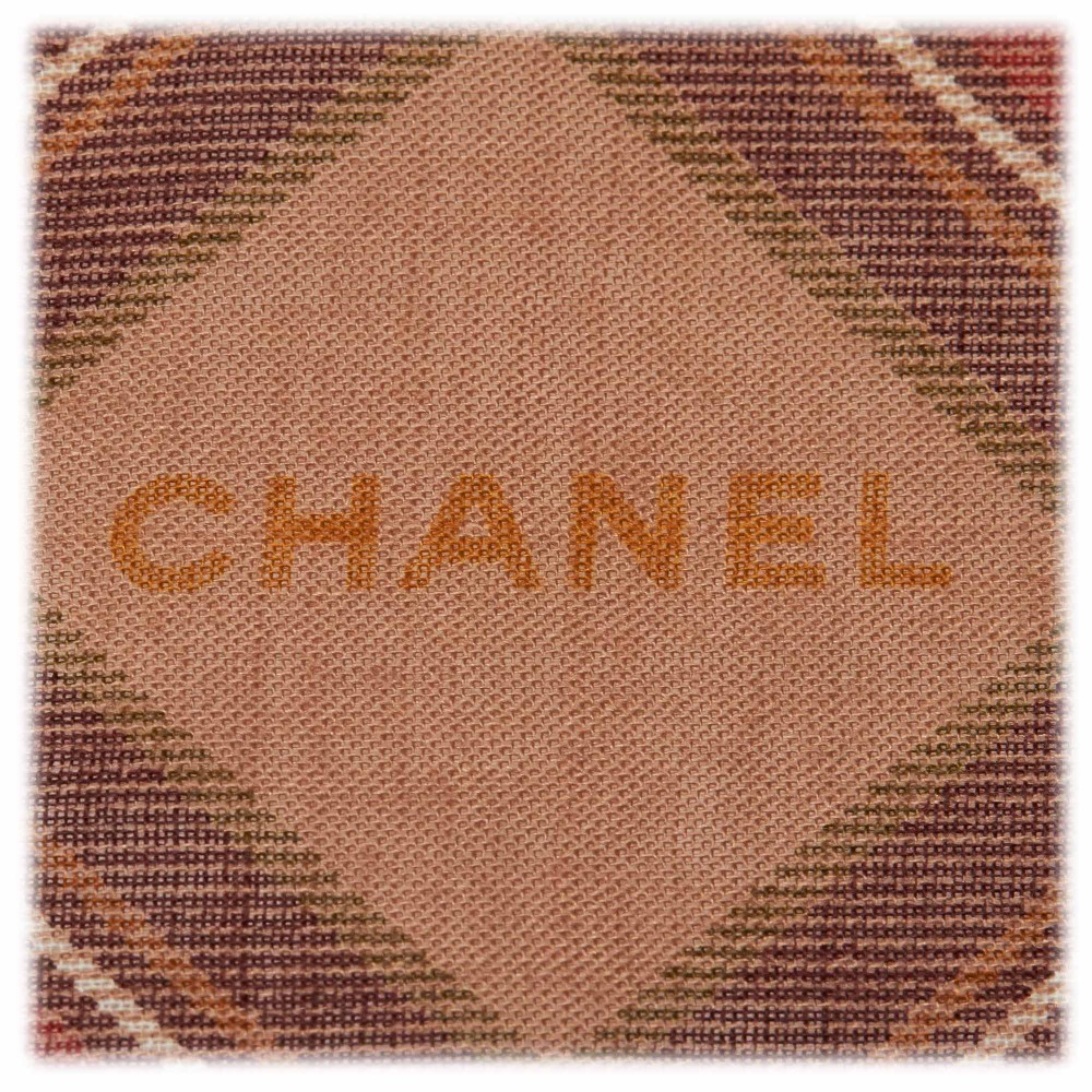 e71ad96cbf167 ... Chanel Vintage - Plaid Cashmere Silk Scarf - Brown Beige - Cashmere and Silk  Foulard ...
