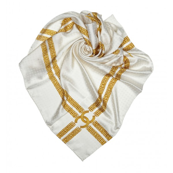 Chanel Vintage - Printed Silk Chain Scarf - White Gold - Silk Foulard - Luxury High Quality