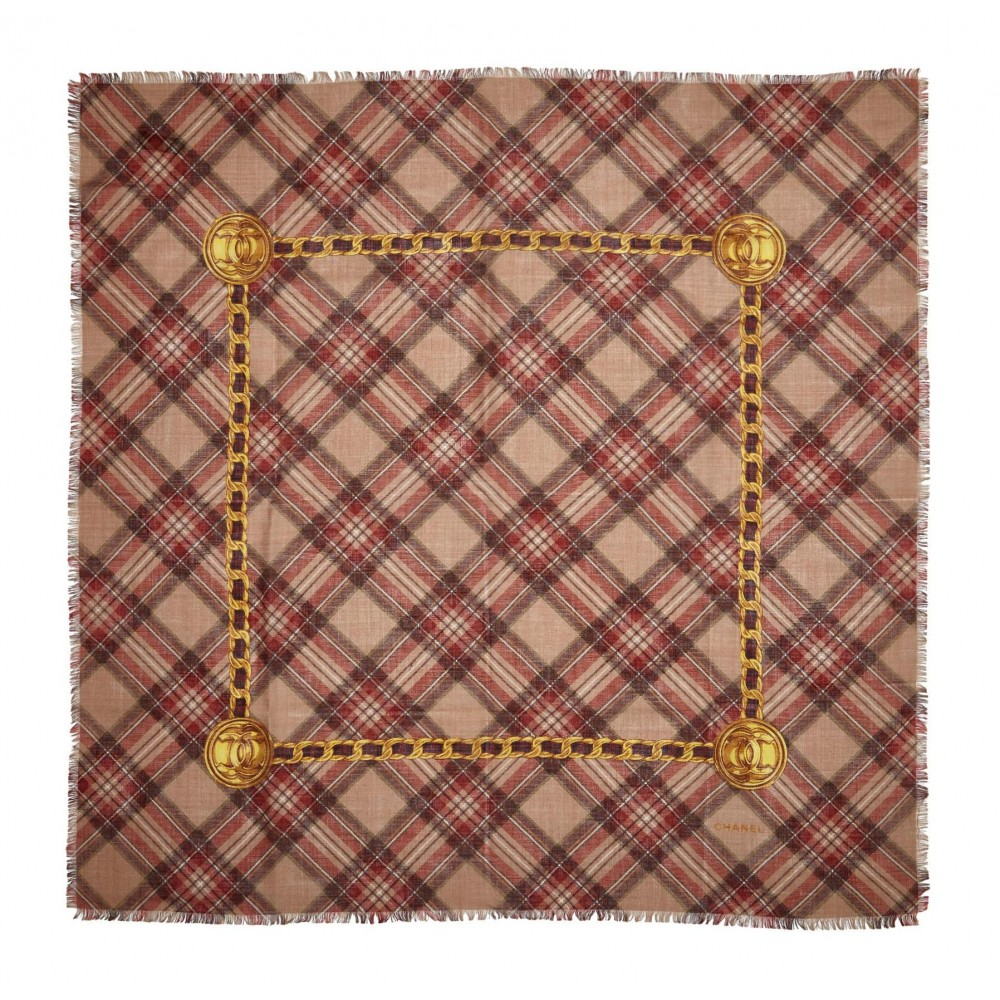 1bba39328c9e4 ... Chanel Vintage - Plaid Cashmere Silk Scarf - Brown Beige - Cashmere and Silk  Foulard -