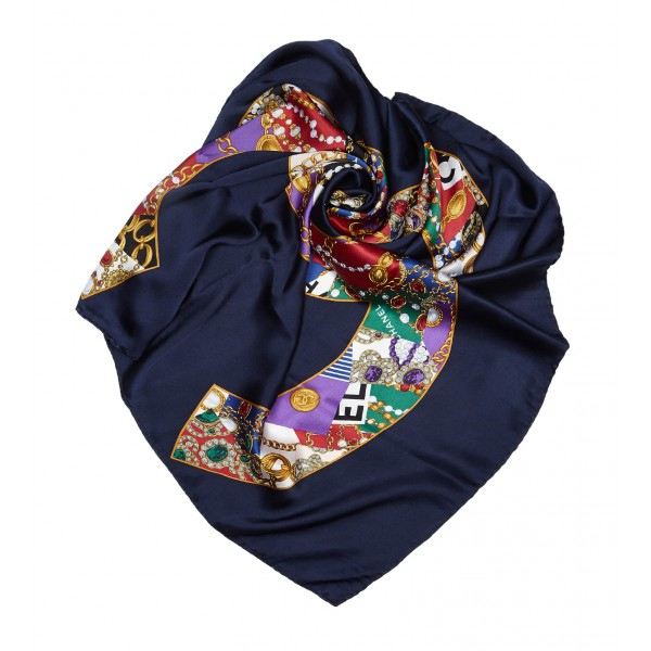 Chanel Vintage - Printed CC Silk Scarf - Blu - Foulard in Seta - Alta Qualità Luxury