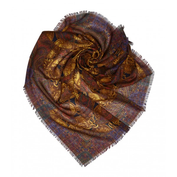 Chanel Vintage - Art Printed Silk Scarf - Brown - Silk Foulard - Luxury High Quality