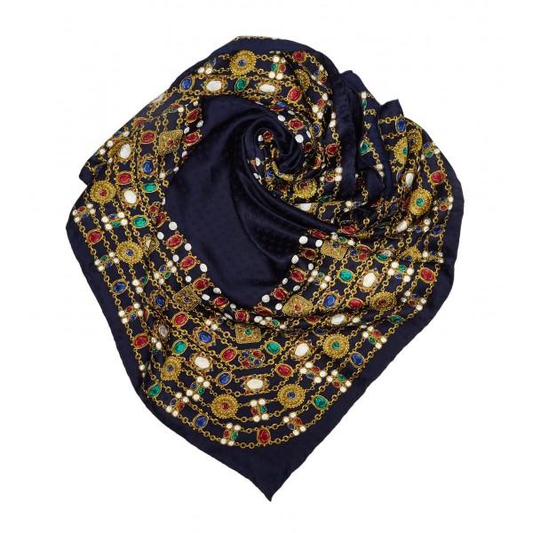 belle qualité nouveaux articles nouveaux produits chauds Chanel Vintage - Jewelry Printed Silk Scarf - Blue - Silk Foulard - Luxury  High Quality