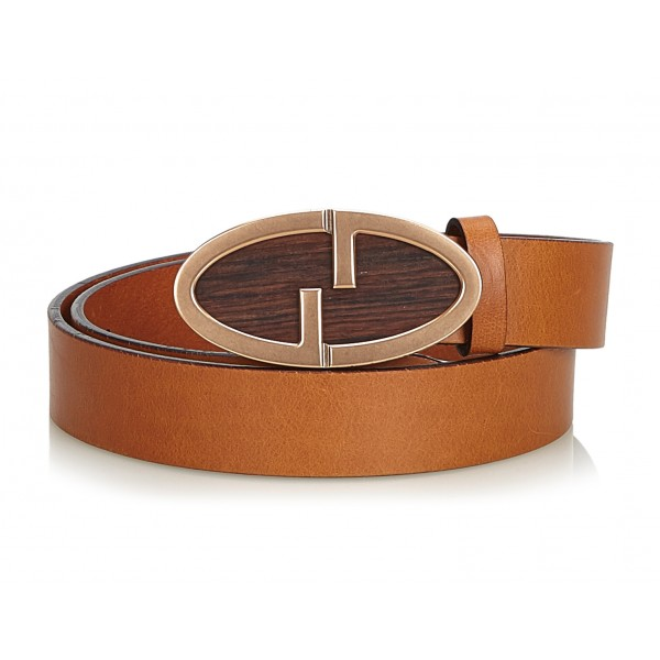 Gucci Vintage - Leather Double G Belt - Marrone - Cintura in Pelle - Alta Qualità Luxury