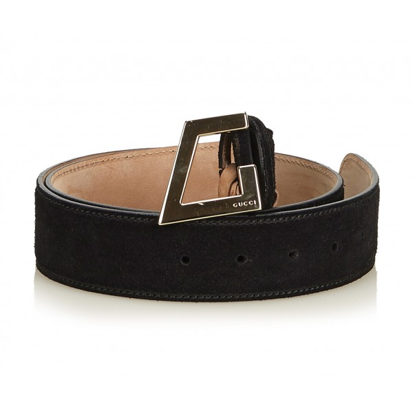 Gucci Vintage - Suede Belt - Black - Leather Belt - Luxury High Quality