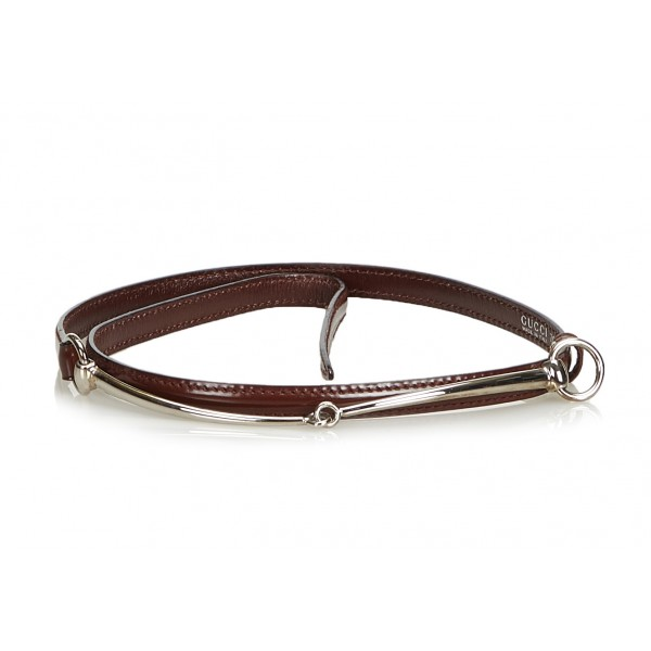 Gucci Vintage - Narrow Horsebit Belt - Brown - Leather Belt - Luxury High Quality