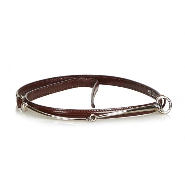 Gucci Vintage - Narrow Horsebit Belt - Brown - Leather Belt - Luxury High Quality