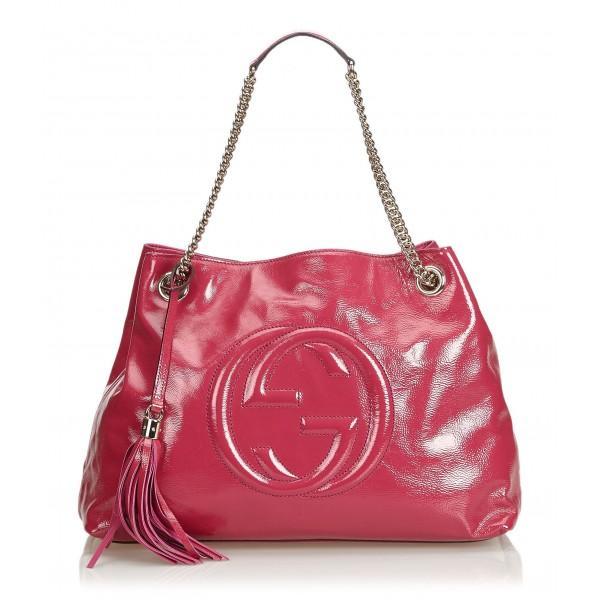 Gucci Vintage - Soho Patent Leather Chain Shoulder Bag - Rosa - Borsa in Pelle - Alta Qualità Luxury
