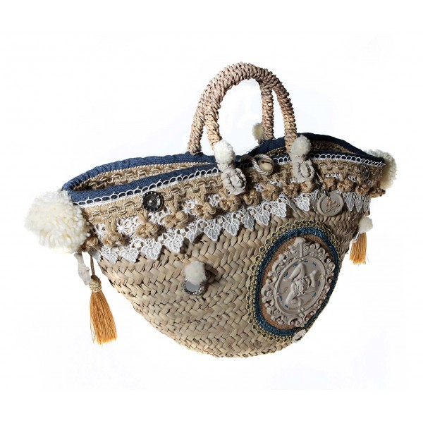 Coffarte - Great Trinacria Coffa - Sicilian Artisan Handbag - Sicilian Coffa - Luxury High Quality Handicraft Bag