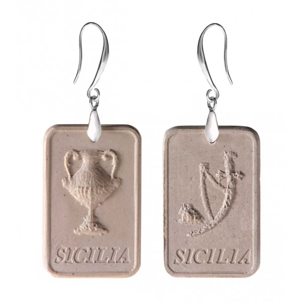 Coffarte - Sicilian Aces Earrings - Money and Stick - Artisan Earrings in Ceramic - Luxury High Quality Handcraft Earrings